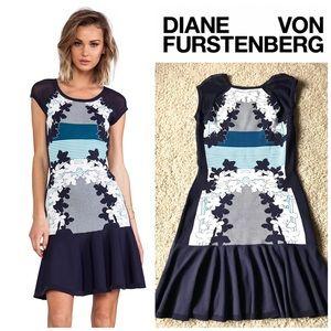 UNIQUE Diane Von Furstenberg DvF Knit Blue Dress L